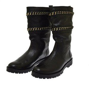 Connell Figueira Tory Burch Black Leather Women's Boots 9 NEW